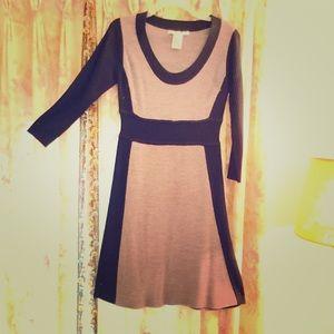 Gray and Black Color Block Knit Dress  Size Medium